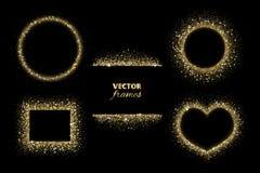 Moussera blänka gränser, ramar Guld- garnering för vektor Cirkel-, rektangel- och hjärtaformer royaltyfri illustrationer