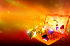 Moussera juvlar som ut går från en dator Arkivbild