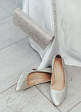 Moussera skor och handväskan arkivfoto