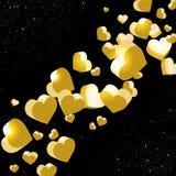 Mousserande abstrakta guld- hjärtor i utrymmet Arkivfoto