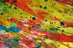 Mousserande färgrika driftiga blåa fläckar för vattenfärg för målarfärg för textur för rosa färgsilverfläck Fotografering för Bildbyråer