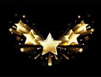 Mousserande guld fem stjärnor royaltyfri illustrationer