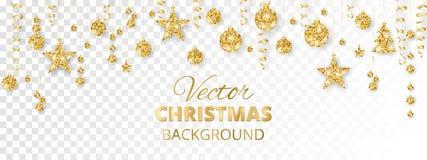 Mousserande jul blänker prydnader Guld- fiestagräns Festlig girland med hängande bollar och band på vektor illustrationer