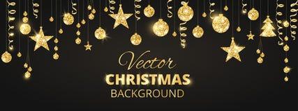 Mousserande jul blänker prydnader på svart bakgrund Guld- fiestagräns Festlig girland med hängande bollar och stock illustrationer