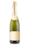 Mousserande vinflaska med den tomma etiketten Royaltyfria Foton