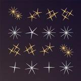Mousserar, glödande stjärnor för ljus effekt och bristningar ljust fyrverkeri stock illustrationer