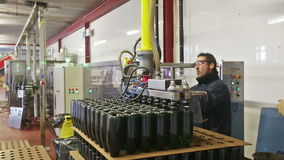 Mousserende wijn het gieten in flessen stock footage