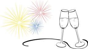 Mousserende wijnglazen - Nieuwjarenvooravond royalty-vrije illustratie