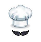Moustache avec le chapeau de chef sur le blanc Photographie stock