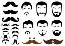 Moustache and beard styles,. Set of moustache and beard designs Stock Images