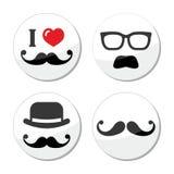 Eu amo os ícones do bigode/moustache ajustados Imagens de Stock Royalty Free