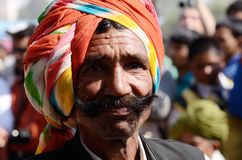 Moustache competition at Pushkar camel fair,India stock photography