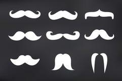 Moustache de vecteur réglée sur l'illustration de tableau noir Photographie stock libre de droits