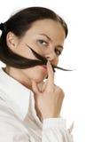 Moustache della giovane donna Immagini Stock