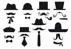 Moustache e cappelli, insieme di vettore Fotografia Stock