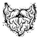 Moustache et barbe de hippie dans style de schéma Images libres de droits