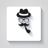 Moustache with hat, smoking pipe and glasses icon Royalty Free Stock Photos