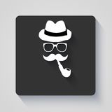 Moustache with hat, smoking pipe and glasses icon Royalty Free Stock Images