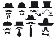 Moustache and hats, vector set Stock Photo