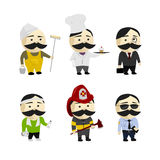 Moustache Men. Moustache cartoon men profession characters isolated on white background Royalty Free Stock Images