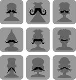 Moustache Men - Web Icon Set Royalty Free Stock Image