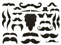 Moustache mustache icon isolated set.Funny fake moustaches for mouth mask vector collection. Vector illustration. Stock Illustration