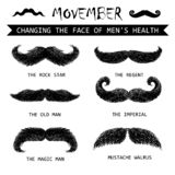 Movember mustache set. Moustache or mustache. Movember vector icons set royalty free illustration