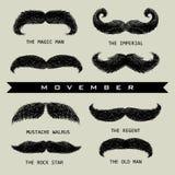 Movember mustache set stock photo