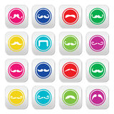 Moustache or mustache round colorful  icons Royalty Free Stock Image