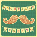 Moustache party background with text.Vector Royalty Free Stock Image