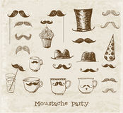 Moustache party objects Stock Photos
