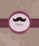 Moustachebakgrundsinbjudan Arkivfoton