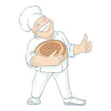 Moustached Baker Holding Bread Illustration Stock Photos