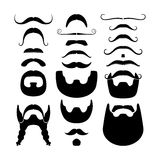 Moustaches and beards silhouettes icons Stock Photos