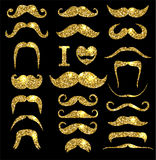 Moustaches gold glitter set. Royalty Free Stock Images