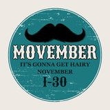Moustaches Movember Poster. Round or Circle Sticker for November Challenge. Black Isolated Silhouette and Hand Drawn. Moustaches Movember Poster. Round or Circle