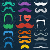 Moustaches set Stock Image