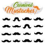 Moustaches Stickers Clipart Set. Black Silhouettes for Cinco de Mayo Paper Cutting Royalty Free Stock Photography