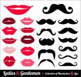 Moustachesand lips set Stock Photography