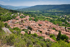 Moustiers. Overall view of ancient village moustiers, france Stock Photography