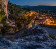 Moustiers Sainte Maria przy nocą Obrazy Royalty Free