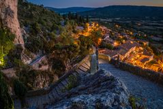 Moustiers Sainte Marie at night. The lovely village of Moustiers Sainte Marie at night Royalty Free Stock Image