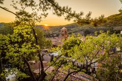 Moustiers Sainte Marie at sunset Stock Photos