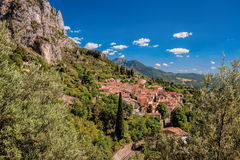 Moustiers Sainte Marie village with rocks in Provence, France Royalty Free Stock Photography