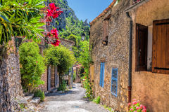 Moustiers Sainte Marie village with street in Provence, France Royalty Free Stock Photos