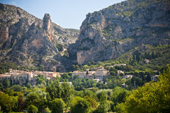 Moustiers-Sainte-Marie village view in Provence, France Royalty Free Stock Images