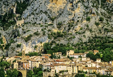 Moustiers ste marie. Village provence alpes du haute provence south of france europe Royalty Free Stock Photo
