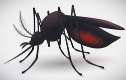 Moustique complètement de silhouette de sang, illustration de vecteur Images libres de droits