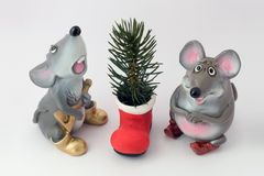 Mousy and a fir-tree Stock Image
