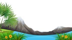 Moutain和湖前景 向量例证